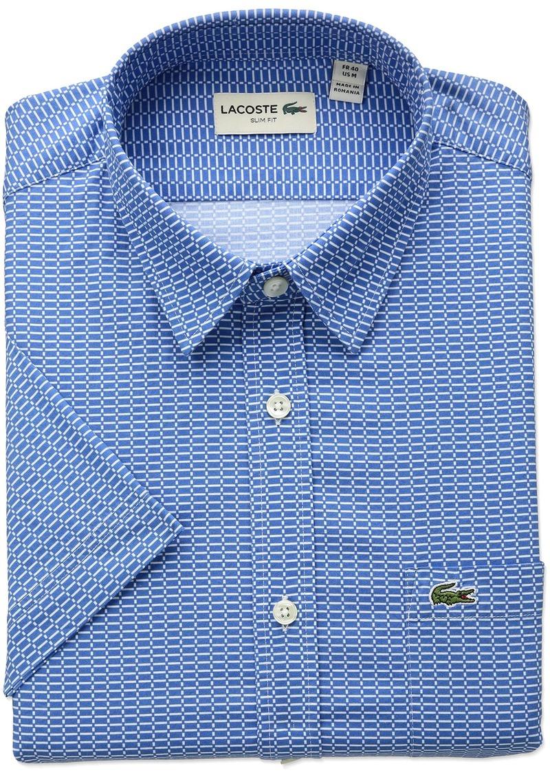 3e0d45c9b4 Men's Short Sleeve Printed Poplin Slim Fit Woven Shirt