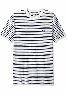 Lacoste Men's Short Sleeve Reg Fit Blue Pack Striped French Terry Tee Flour/Inkwell/Navy 4X-Large