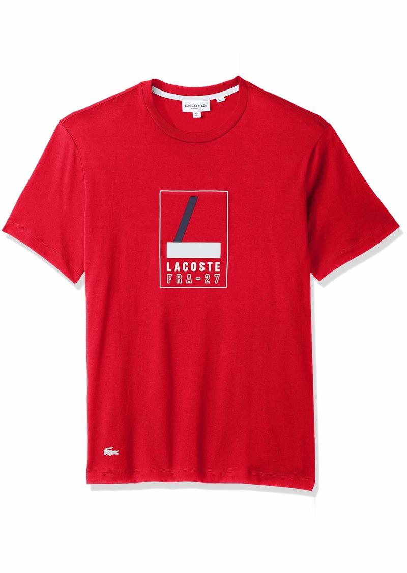 Lacoste Mens Short Sleeve Reg Fit Letter Block Gaphic Tee