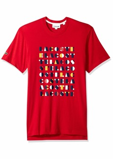 Lacoste Men's Short Sleeve REG FIT Letter Block GAPHIC TEE Imperial red