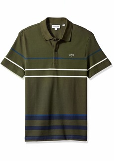 Lacoste Men's Short Sleeve REG FIT Striped Colorblock Pique Polo Baobab/Meridian Blue/INKW
