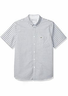Lacoste Men's Short Sleeve Regular Fit Checkered Oxford Shirt  2XL