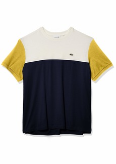 Lacoste Men's Short Sleeve Regular Fit Colorblock Jersey T-Shirt Navy Blue/Flour-Daba XXL
