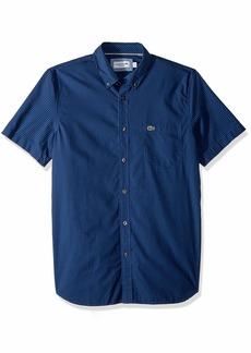 Lacoste Men's Short Sleeve Regular Fit Gingham Poplin Button Down