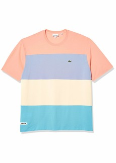 Lacoste Men's Short Sleeve Relax Fit Colorblock Pique T-Shirt Cicer/CLUSI-Purpy-Elf Pink L