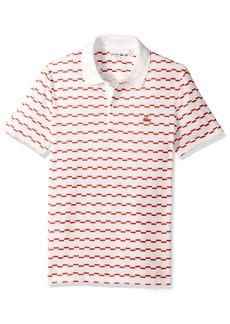 Lacoste Men's Short Sleeve Robert George Irrig Stripe Slim Polo White/Pumpkin XL