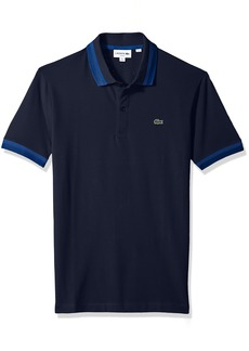 Lacoste Men's Short Sleeve Semi Fancy Pique Pima Stretch Slim Polo PH3185 Navy Blue/Electric-Marino