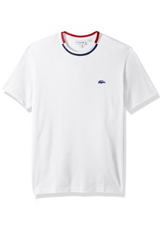 Lacoste Men's Short Sleeve Semi Fancy Pique Tee with Rubber Croc