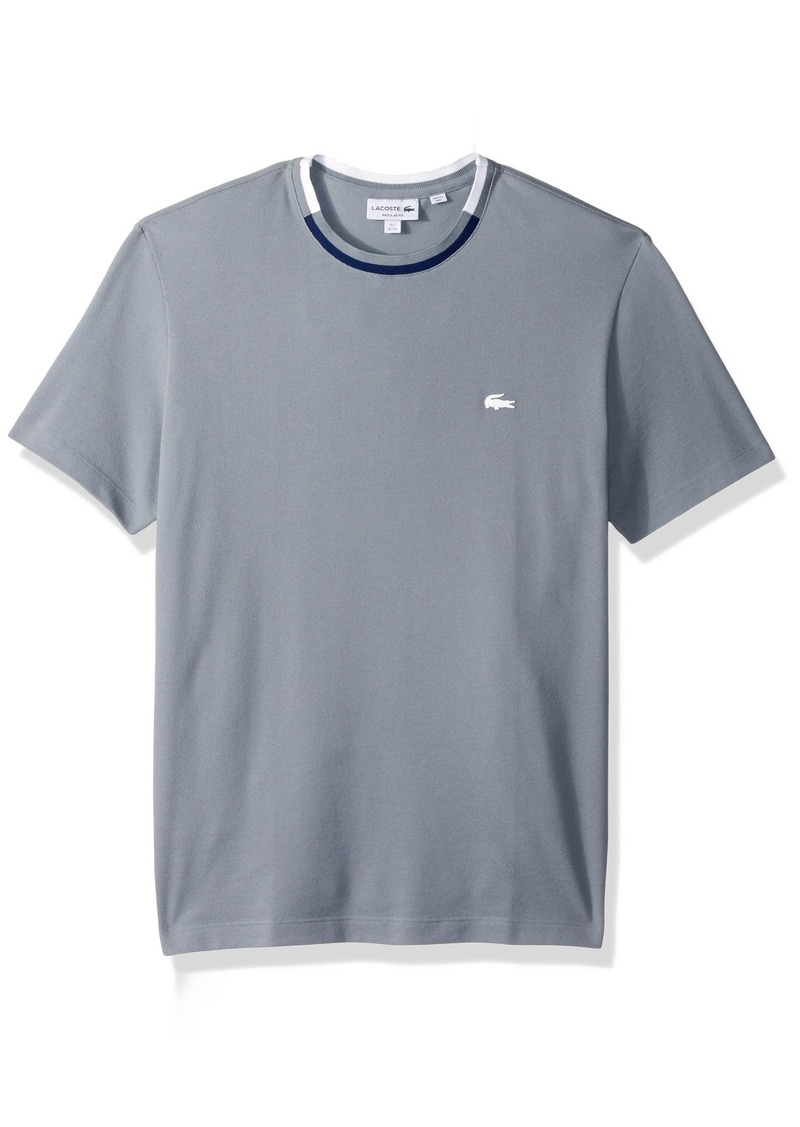 2360daa068c3 Lacoste Men s Short Sleeve Semi Fancy Pique Tee With Rubber Croc Mill  Blue methylene