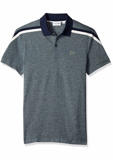 Lacoste Men's Short Sleeve Slim FIT Made in France Pique Polo ACONIT/Flour/Navy Blue