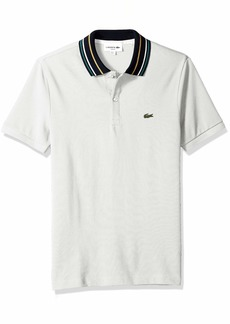 Lacoste Men's Short Sleeve Slim Fit Semi Fancy Striped Collar Polo