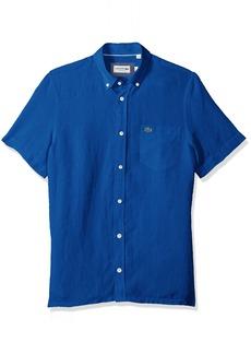 Lacoste Men's Short Sleeve Solid Linen Button Down Collar Reg Fit Woven Shirt CH4991