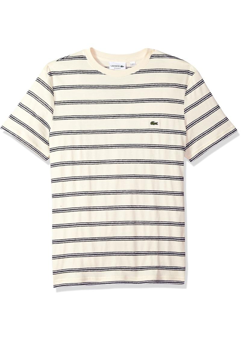 42e5451b Men's Short Sleeve Stripe Cotten/Linen Reg Fit T-Shirt TH3248 Vanilla  Plant/Abyssal Blue-White 4X-Large. Lacoste