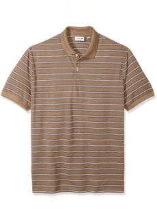 Lacoste Men's Short Sleeve Stripe Pique Regular Fit Polo PH3154 Kraft Beige/Abyssal Blue-White