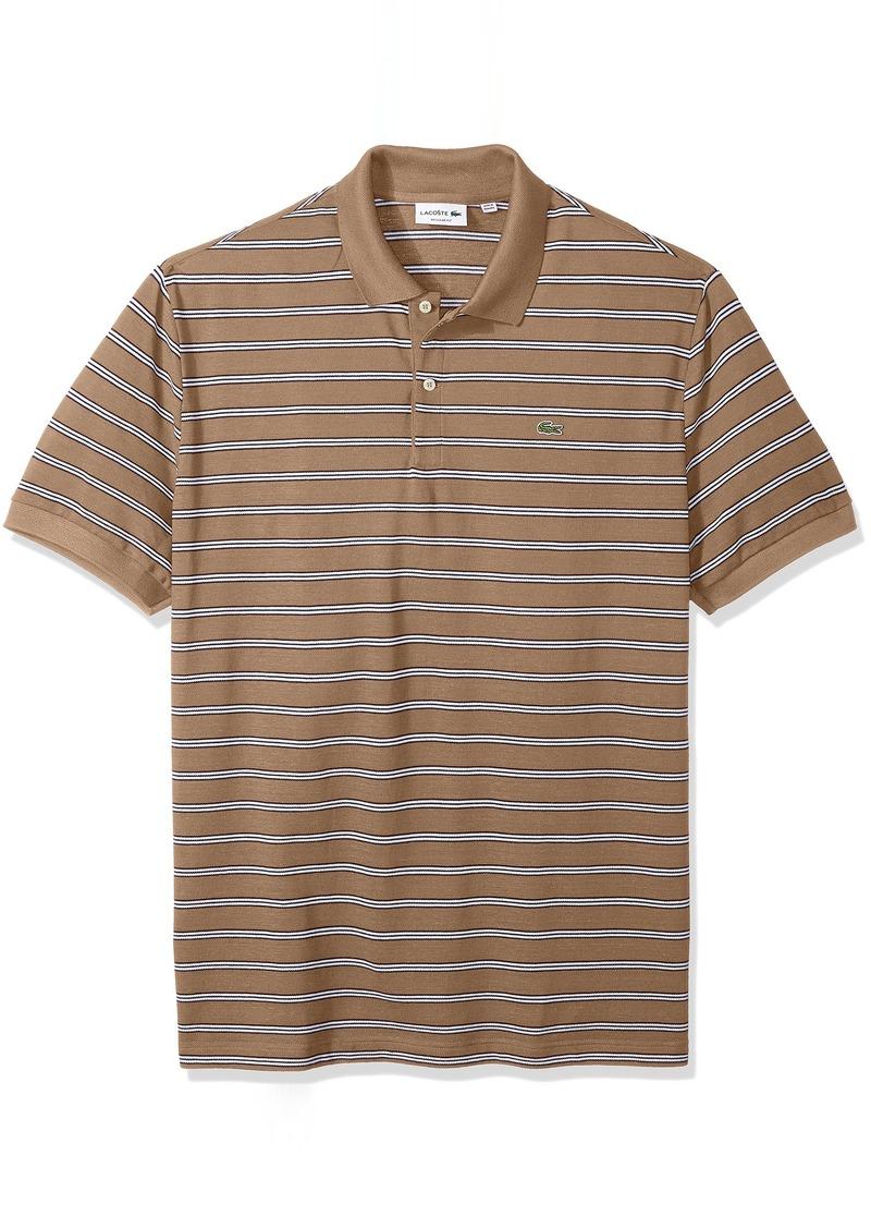 Lacoste Men's Short Sleeve Stripe Pique Regular Fit Polo PH3154 Kraft Beige/Abyssal Blue-White