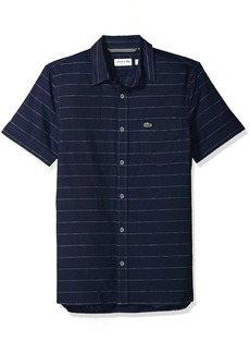 Lacoste Men's Short Sleeve Striped Button Down Collar Slim Woven Shirt CH4966