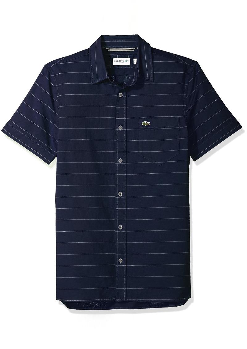 c906acd5b Lacoste Men s Short Sleeve Striped Button Down Collar Slim Woven Shirt  CH4966