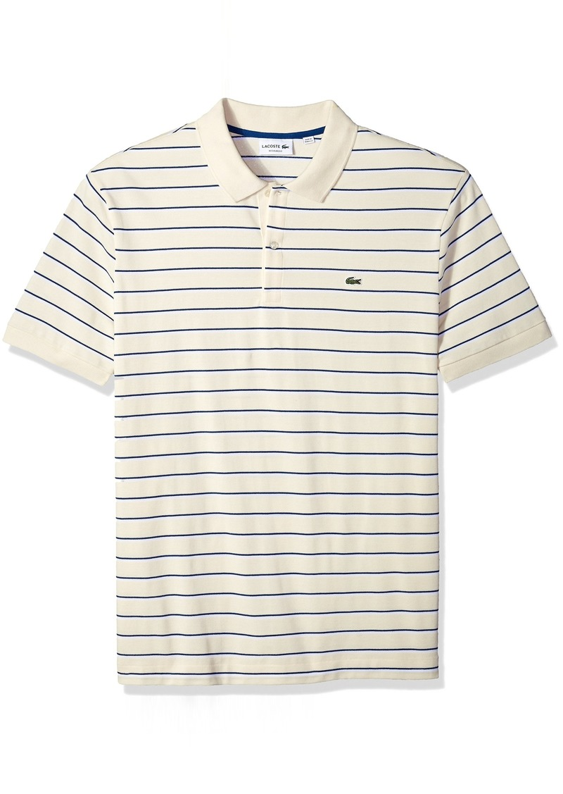 8c4db4f6 Lacoste Men's Short Sleeve Striped Mini Pique Regular Fit Polo PH3150  Vanilla Plant/White-
