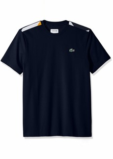 Lacoste Men's Short Sleeve Super Light Knit Jacquard Tape Tee Navy Blue/White