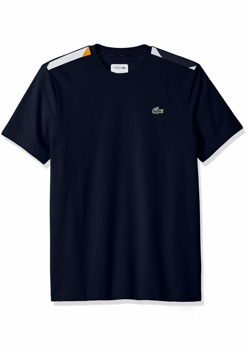 Lacoste Men's Short Sleeve Super Light Knit Jacquard Tape Tee Navy Blue/White