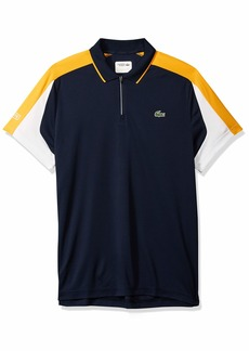 2c8faba8 Lacoste Men's Short Sleeve Ultra Dry Pique Colorblock Zip Polo Navy  Blue/Pomelo/White