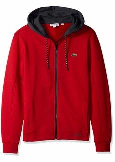 Lacoste Men's Sport Contrast Hood Fleece Tennis Sweatshirt Lighthouse red/Graphite/b