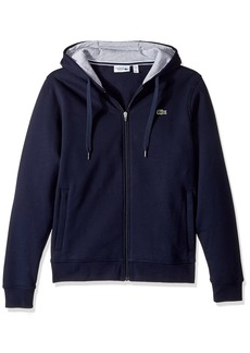 Lacoste Men's Sport Fleece Zip Up Hooded Sweatshirt Navy Blue/Silver Chine M