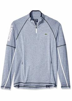 Lacoste Men's Sport Long Golf 1/4 Zip W/Logo ON Sleeve Light Indigo White/Navy Blue