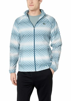 Lacoste Men's Sport Long Sleeve All Over Print Wind Jacket White/NEOTTIA/LIMEIRA 4X-Large