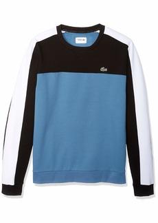 Lacoste Men's Sport Long Sleeve Color Blocked Fleece Crewneck Black/NEOTTIA/White