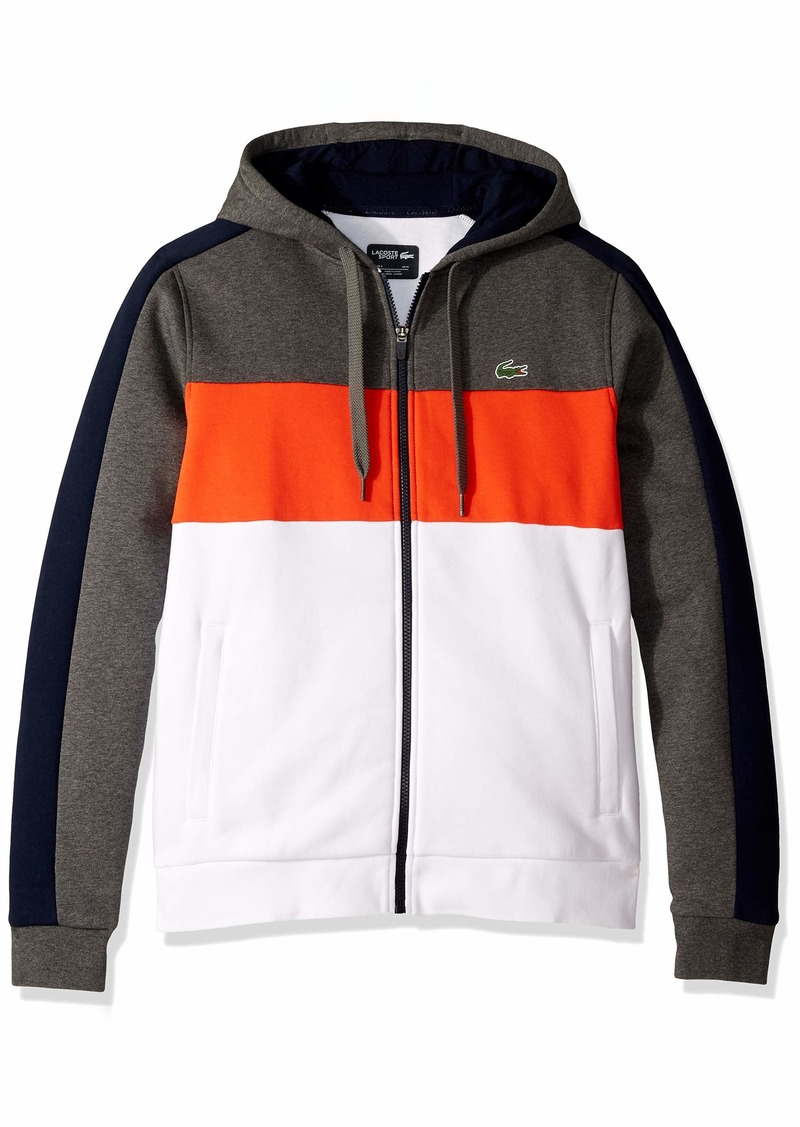 Lacoste Men's Sport Long Sleeve Color Blocked Full Zip Fleece Hoodie Pitch/Navy Blue/Mexico red/White 4X-Large