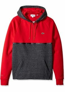 Lacoste Men's Sport Long Sleeve Color Blocked Half Zip Hoodie FOLIOSA Chine Turkey red