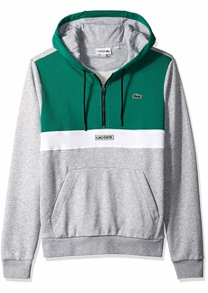 Lacoste Men's Sport Long Sleeve Color Blocked Logo Half Zip Hoodie