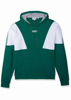 Lacoste Men's Sport Long Sleeve Color Blocked Pull Over Hoodie Fleece  4X-Large