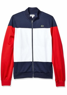 Lacoste Men's Sport Long Sleeve Color Blocked Tricot Jacket Navy Blue/White/red