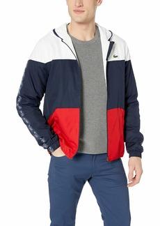 Lacoste Men's Sport Long Sleeve Croc Tape Color Blocked Wind Jacket White/Navy Blue/red