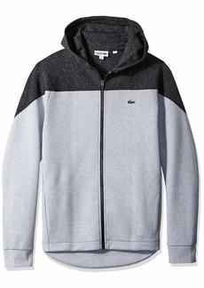 Lacoste Men's Sport Long Sleeve Drop Tail Fleece Full Zip Hoodie FOLIOSA Silver Chine