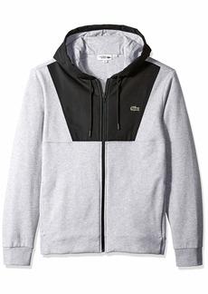 Lacoste Men's Sport Long Sleeve Mixed Media Full Zip Hoodie