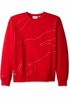 Lacoste Men's Sport Long Sleeve Outlined Big Croc Fleece Crew Flash Turkey red 4X-Large