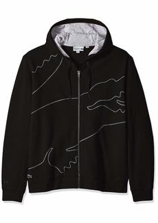 Lacoste Men's Sport Long Sleeve Outlined Big Croc Full Zip Hoodie Silver Chine/Graphite/Black
