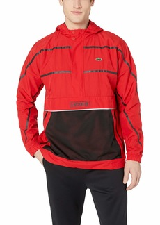 Lacoste Men's Sport Long Sleeve Striped Wind Jacket red/Black