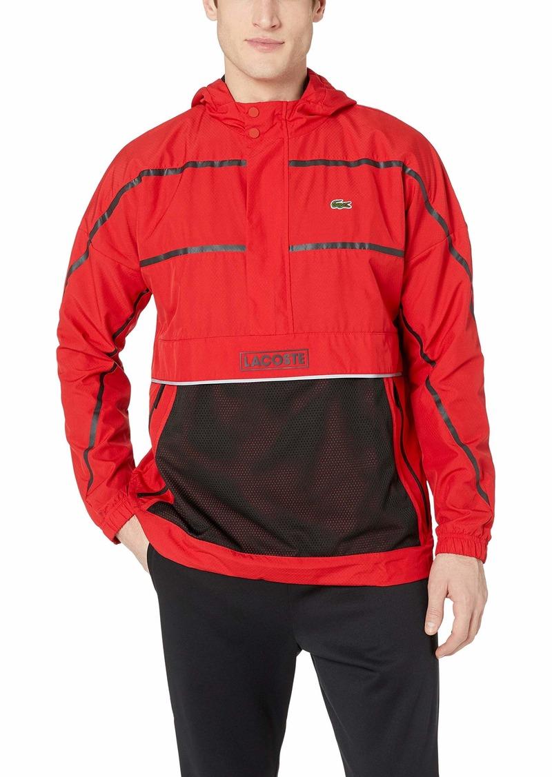 Lacoste Men's Sport Long Sleeve Striped Wind Jacket red/Black