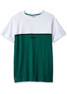 93fa07e2549145 Lacoste Men s Sport Short Sleeve Blocked T-Shirt W Badge at Chest White  Black