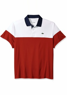Lacoste Men's Sport Short Sleeve Color Blocked Polo White/red/Navy Blue