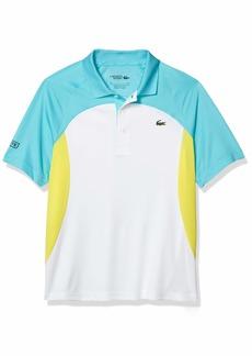 Lacoste Men's Sport Short Sleeve Colorblock Ultra Dry Polo Shirt White/Haiti Blue-Lemon-Navy Blue S
