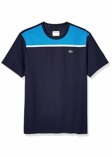 Lacoste Men's Sport Short Sleeve Super Light Knit MESH T-Shirt Navy Blue/PRATENSIS/White