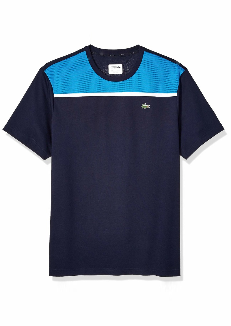 Lacoste Men's Sport Short Sleeve Super Light Knit MESH T-Shirt Navy Blue/PRATENSIS/White