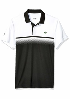 Lacoste Men's Sport Short Sleeve Ultra Dry Gradient Print Polo Black/White