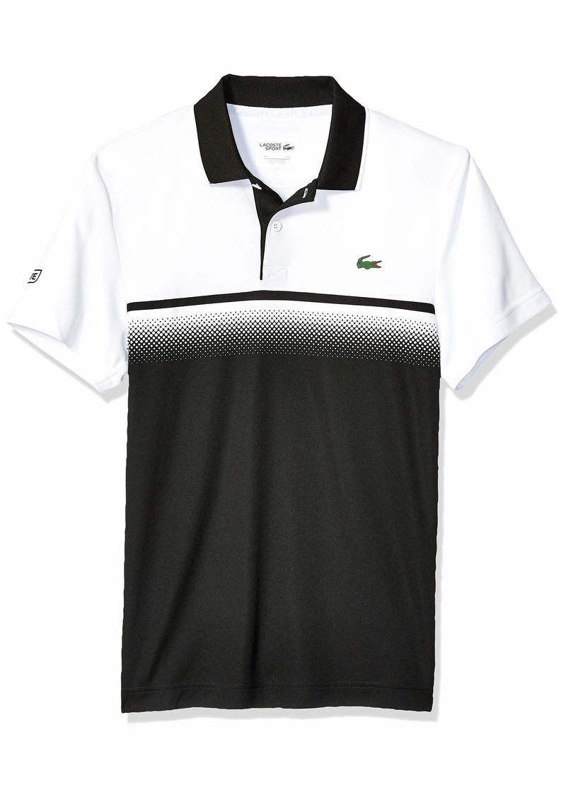 Lacoste Men's Sport Short Sleeve Ultra Dry Gradient Print Polo Black/White