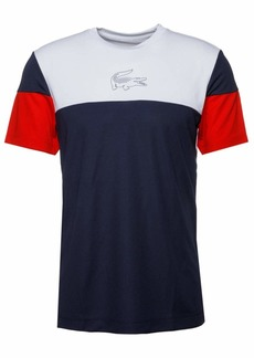 Lacoste Men's Sport Short Sleeve Ultra Dry Technical Color Blocked T-Shirt White/Navy Blue/red